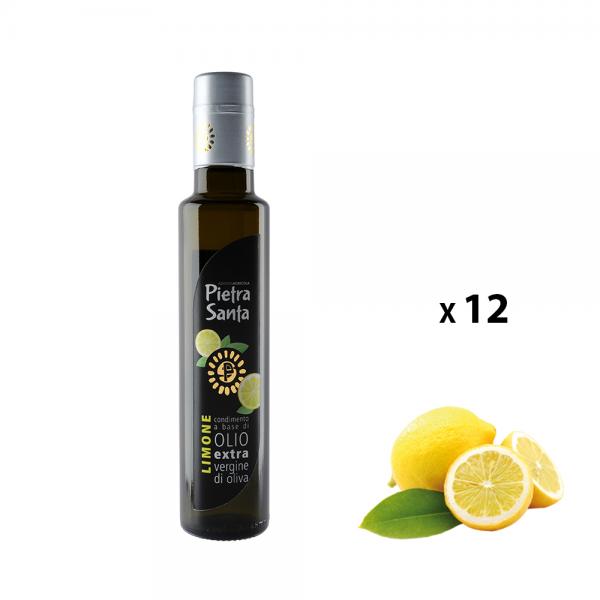 Box mit 12 Flaschen Würze aus extra nativen Olivenöl und Zitrone 0,25 Liter