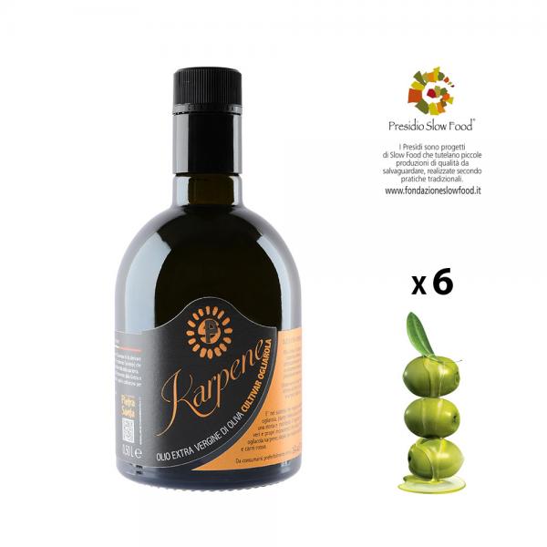 Confezione da 6 bottiglie di Olio extravergine di oliva Karpene da 0,50 Litri