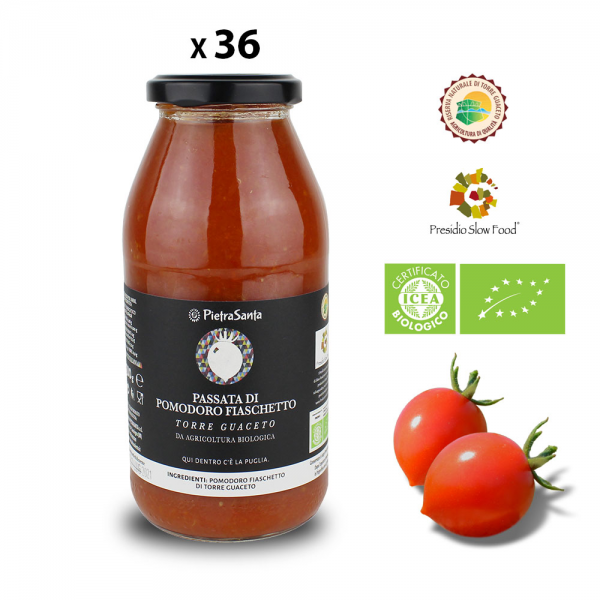 Pack of 36 jars of Biological Fiaschetto tomato purèe from Torre Guaceto