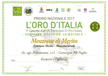 L'oro d'Italia Merit Mention - Extra Virgin Olive Oil - 2016