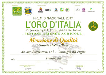 L'oro d'Italia Merit Mention - Karpene Ogliarola Extra Virgin Olive Oil - 2016