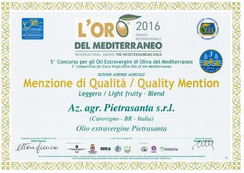 L'oro del MediterraneoMerit Mention - Extra Virgin Olive Oil - 2016