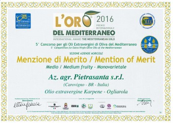 L'oro del Mediterraneo Merit Mention - Karpene Ogliarola Extra Virgin Olive Oil - 2016